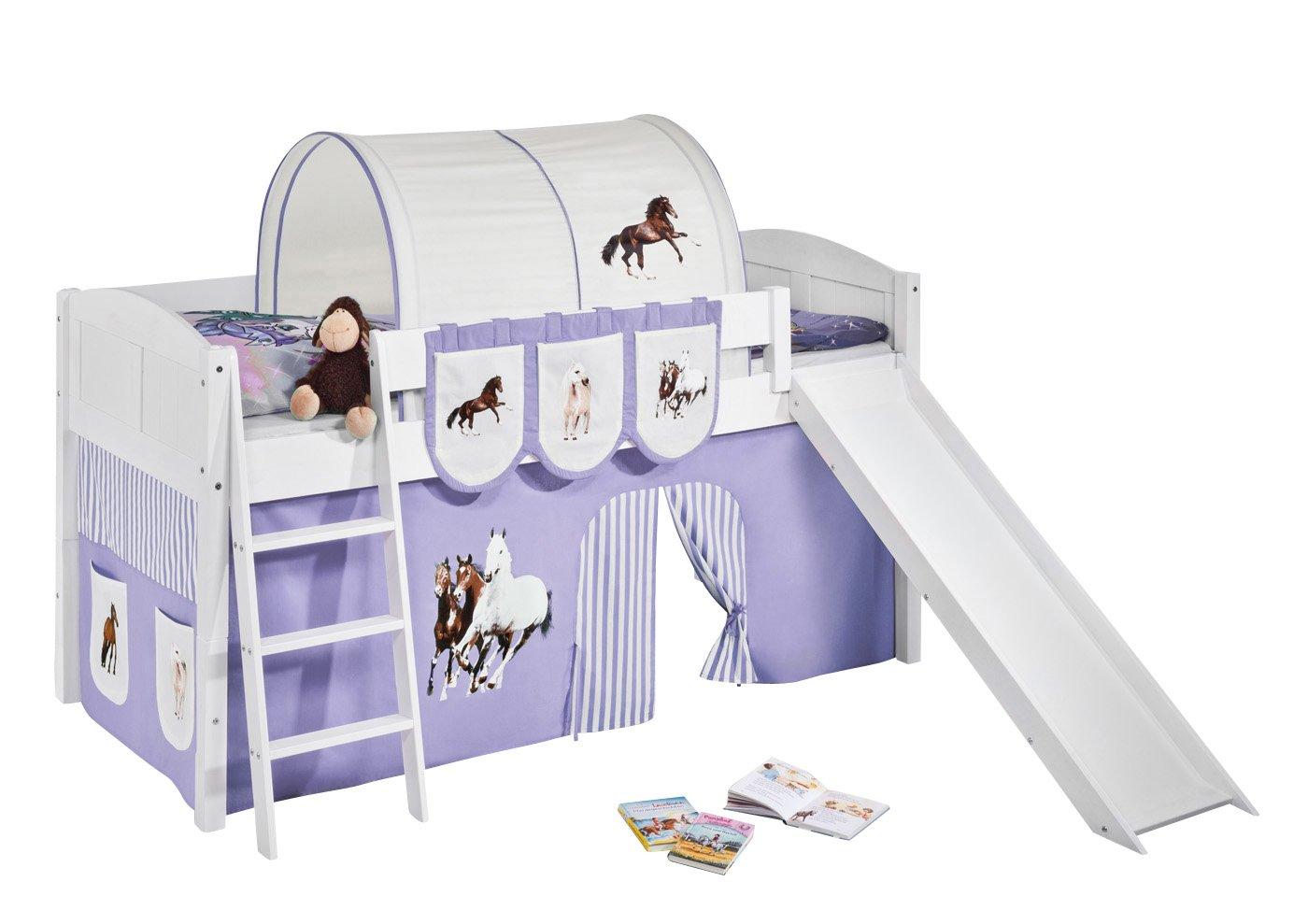 Lilokids IDA4106KWR-PFERDE-LILA Kinderbett, Holz, pferd lila, 208 x 220 x 113 cm