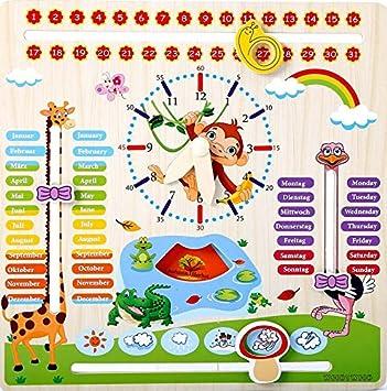 Calendario Legno Bambini.Woodywood Orologio Con Calendario Per Bambini In Legno