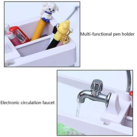 Chengstore Acuaponic Tanque de Peces, Mini pecera pequeña USB para Acuario de Escritorio, Vista ecológica de pecera con Reloj LED, Negro, 24x 10x 19CM: ...