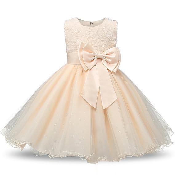 BOZEVON Bambina Senza Maniche Vestito Principessa Pizzo Abitini Da Bambini  Ragazze Bowknot Abiti Matrimonio Festa Tutu 4387de15cdc0
