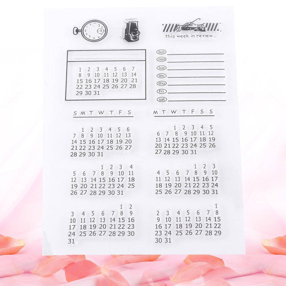 Calendar Pattern Clear Stamp Transparent Silicone Stamp for DIY Card Scrapbooking Making Photo Album Decorative