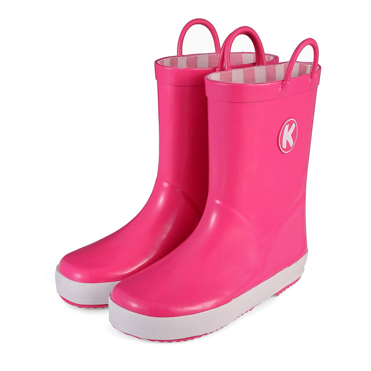 KomForme Kids Rain Boots, Plain Color Girl Rubber Boots Waterproof with Handles Pink by KomForme (Image #1)