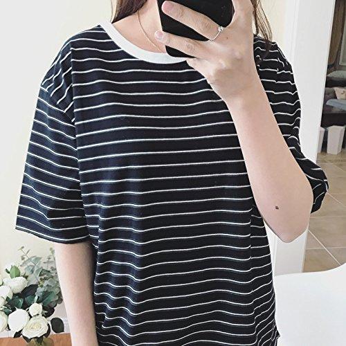 Xmy chemise rayée Fine Fine vidéo lâche hit couleur rond pour l'au rez-de-chaussée shirt manches courtes T-shirt femme Printemps et été sont des codes