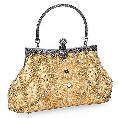Chichitop Women's Vintage Beaded And Sequined Evening Bag Wedding Party Handbag Clutch Purse, Gold Beaded Gold Bag