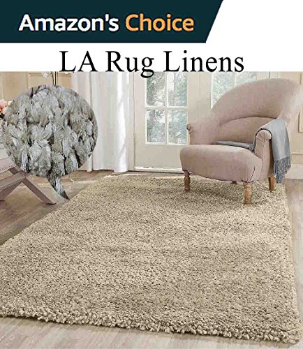 Cozy Fluffy Fuzzy Plush Solid Soft Shaggy Shag Rug Throw Contemporary Living Room Bedroom Indoor Large 8x10 Beige Tan Cream Neutral ( Popcorn Beige )