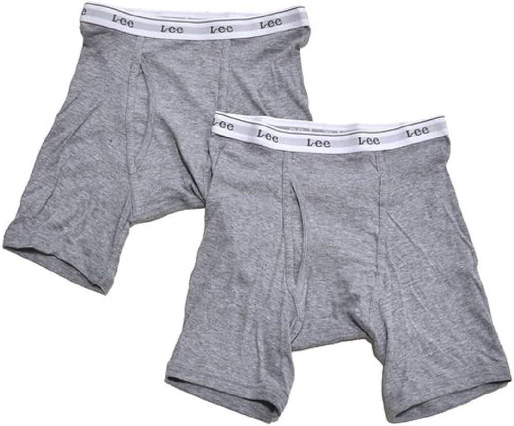 Medium, Grey//Grey Lee Mens Boxer Briefs Tag Free Underwear 100/% Cotton Pack of 2