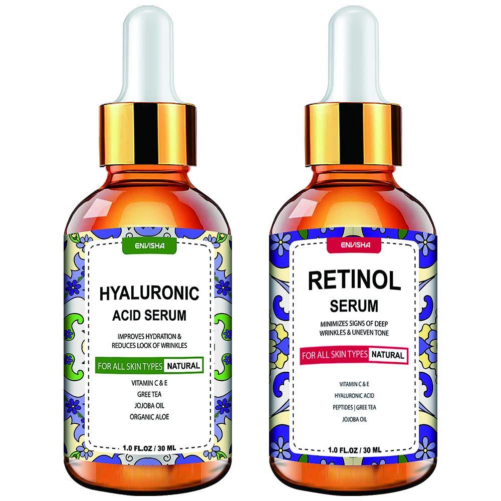 Envisha Day and Night Serum 2-Pack - Retinol Serum, Hyaluronic Acid Serum - Face Serum for All Skin