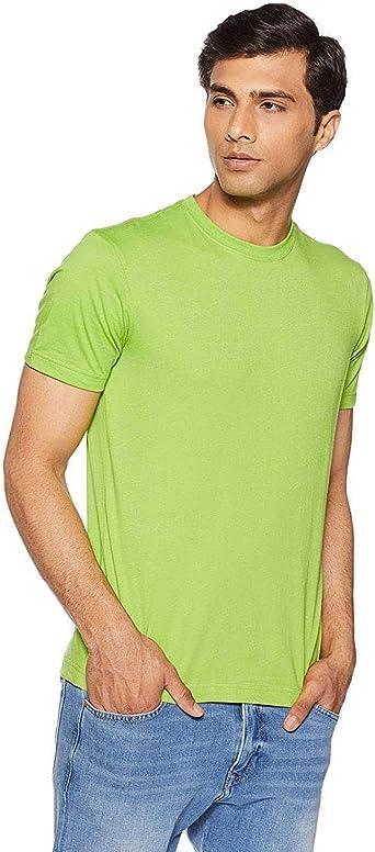 Indian Handicrfats Export Yellow Solid Regular Fit Cotton Mens T-Shirt