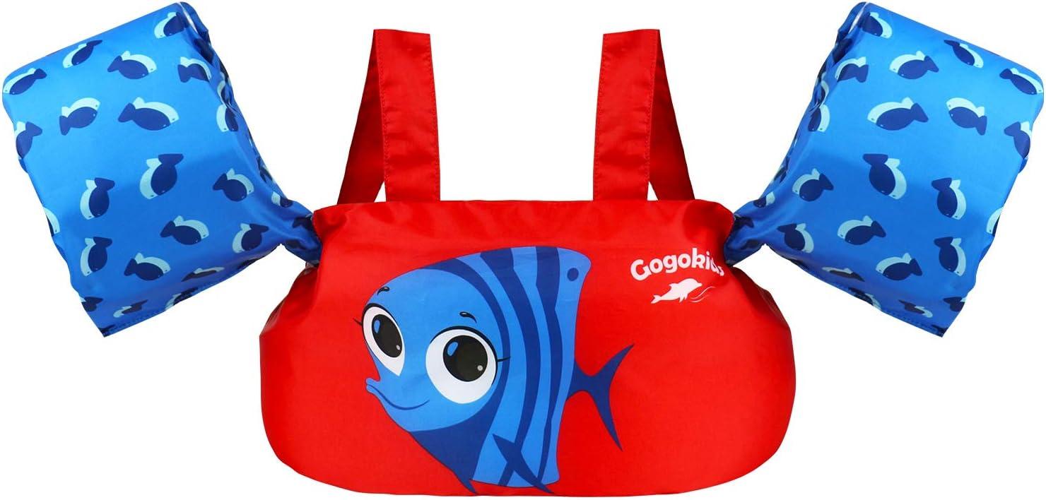 Gogokids Chaleco de Natación para Niños Niñas, Manguitos de Flotante Chaqueta de Entrenamiento para Nadar Aprendiendo Brazo Pecho Banda Flotadores Flotación Mangas Natación Entrenadores