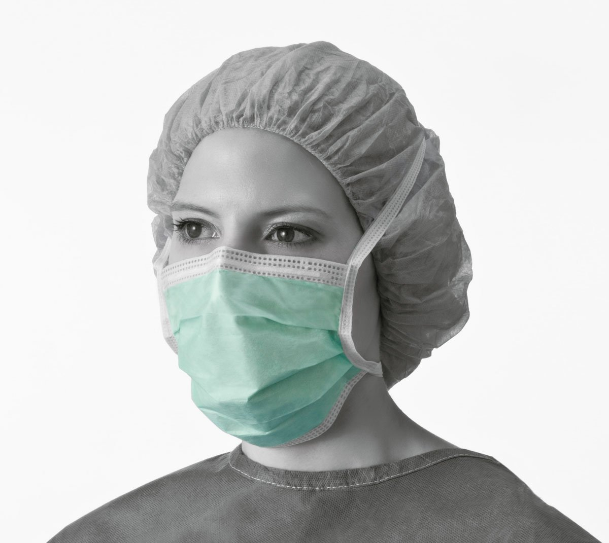 Medline NON27379A Surgical Face Mask, Anti-Fog, Pleated Style, Cellulose, Film Strip, Latex Free, Green (Pack of 300) by Medline