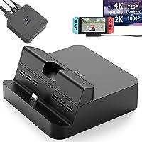 GuliKit - Base de carga para Nintendo Switch, protocolo PD evita ladrillos, hipertrans, para proyección de 1080P/2K/4K, diseño de transformación magnética, soporte para teléfono o tablet, base de carga con salida de aire (negro)