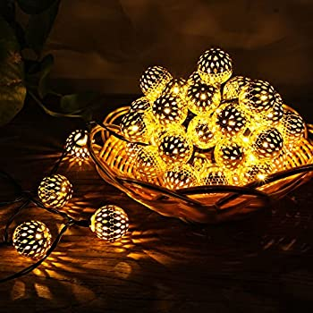 Recesky Battery Operated String Lights with Timer 40 LED 22.5ft Globe Lantern Decor Lighting for Outdoor Indoor Garden House Home Party Xmas Wreath Garland Christmas Tree Decorations - Warm White