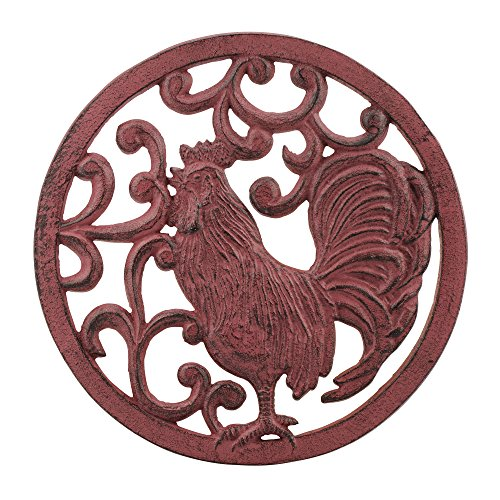 Stonebriar Round Rustic Farmhouse Red Rooster Cast Iron Trivet, Decorative Pot Holder for Hot Dishes, Teapots, and More, Unique Hot Plate to Protect Counter Tops and Tables