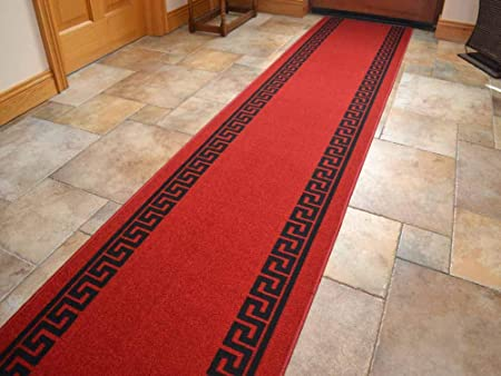 Red Greek Key Non Slip Machine Washable Cut To Size Runner Rugs 2ft