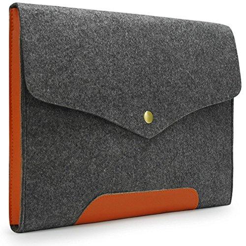 (Lavievert Gray Felt Case Leather Bottom Bag Sleeve for Apple 13