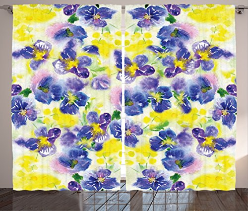 Ambesonne Watercolor Flower Curtains, Butterfly Violet Field Garden in Vivid Colors Nature Environment Print, Living Room Bedroom Window Drapes 2 Panel Set, 108