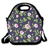 Nnklnksdd Vintage Roses And Buds Romantic Feminine Floral Pattern Old Fashioned Decorative Women's Lunch Bag