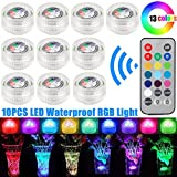 10pcs Waterproof RGB LED Lights Submersible LED Light Battery Powered Pool Lights With Remote Control for Fountain Pool Party Vase Lamp Pond