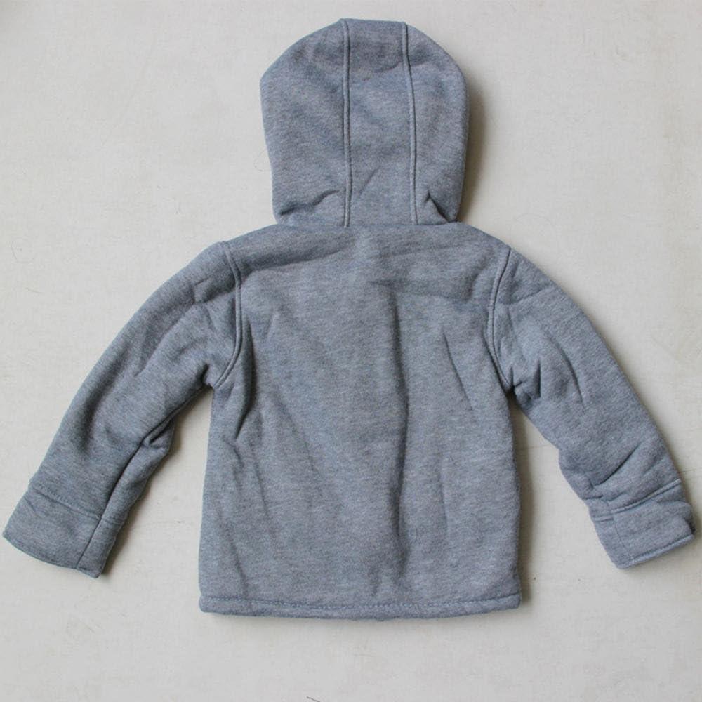 Wennikids Unisex Baby Fleece Hooded Jacket Warm Winter Horn Button Outerwear Coat