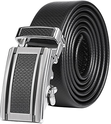 Marino Men's Ultra Soft Leather Ratchet Dress Belt with Automatic Buckle, Enclosed in an Elegant Gift Box - Gunblack Silver Leather Buckle W/ Black Leather - Custom: Up to 44