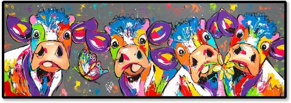 NOBRAND Impresión en Lienzo Colorido Vacas Graffiti Lienzo Pintura Arte de la Pared Sala de Estar Dormitorio Decoración Moderna Imágenes de Pared 60x180cm (23.6