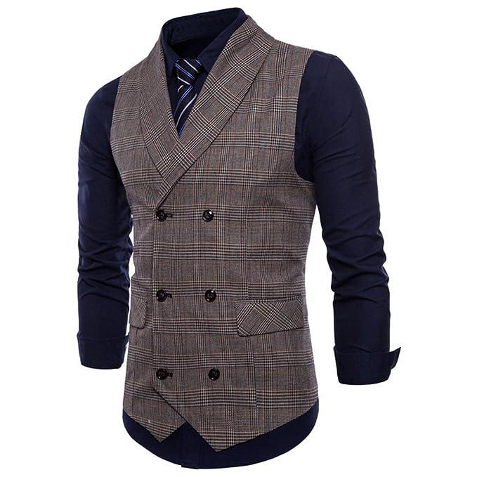 Fangcheng Vestito Slim Fit Gilet Gilet da Uomo British Casual Suit Gilet  Maschile Gilet Doppio Petto Uomo Top Abbigliamento  Amazon.it  Abbigliamento d198c3ba43d