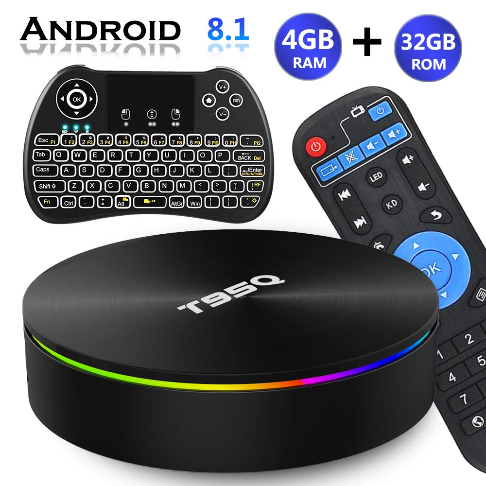 Android TV Box 8.1, EVANPO Android TV Player Quad-Core Amlogic S905X2 4GB/32GB Support Dual Band WiFi/H.265/ BT4.1/ USB 3.0/ 1000M LAN/3D/6K Ultra HD Smart Box Media Player with Wireless Mini Keyboard by EVANPO