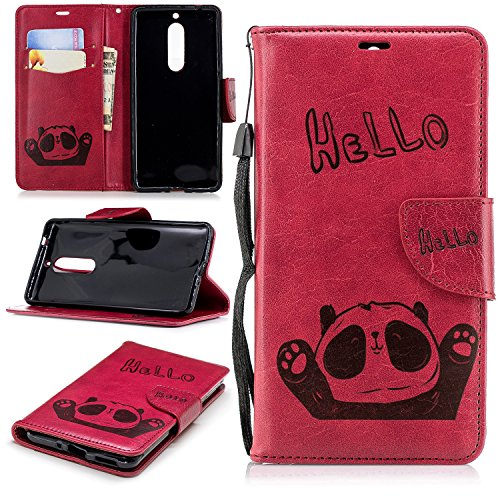 Nokia 5 Case,Tznzxm Fashion Retro Hello Bear Premium PU Leather Magnetic Closure Protective Folio Flip Wallet Card Holder Slot Pockets with Kickstand Wrist Holster for Nokia 5 (5.2