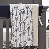 Liz and Roo Navy Arrows Minky Receiving Blanket, Navy