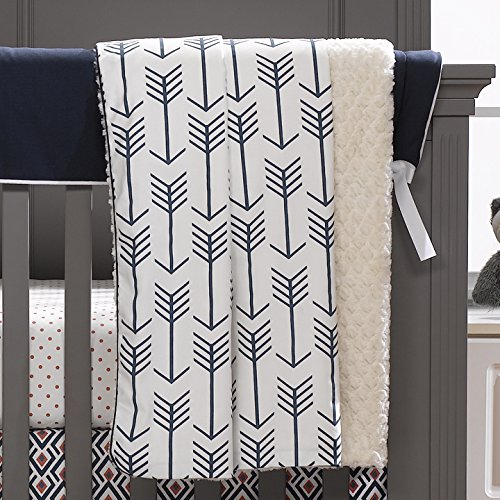Liz and Roo Navy Arrows Minky Receiving Blanket, Navy by Liz and Roo