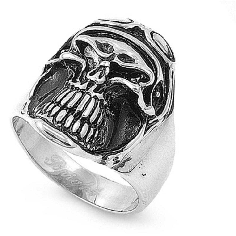 Stainless Steel Skull Pilot Aviation Biker Ring Size 15