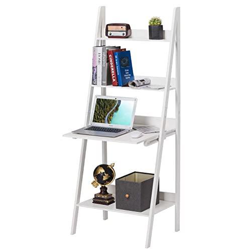 Itaar 4-Tier Ladder Shelf Bookcase With Drop-Down Desk, Modern Bookshelf, Leaning Bookshelf, Wooden Frame Decor Bookshelf Storage Flower Shelf Plant Display Shelf for Home Office, White 4-Tier