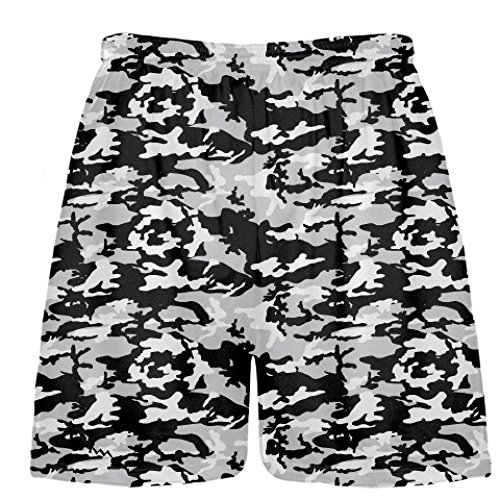 190194ce204 Youth Lacrosse Short - Black and Silver Camouflage Lacrosse Shorts - Youth  Camouflage Shorts, Black - YXL