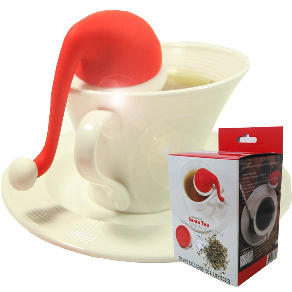 Mudra Loose Leaf Tea Infuser with Santa Hat Strainer and Steel Ball