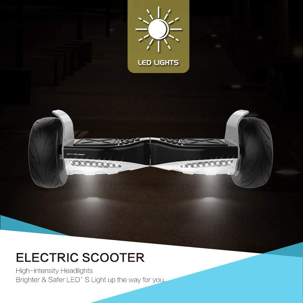 City Cruiser Hoverboard 8.5 Self Balancing Scooter UL2272 Certified Hoverboard with Bluetooth Speaker and LED Lights for Adult and Kids