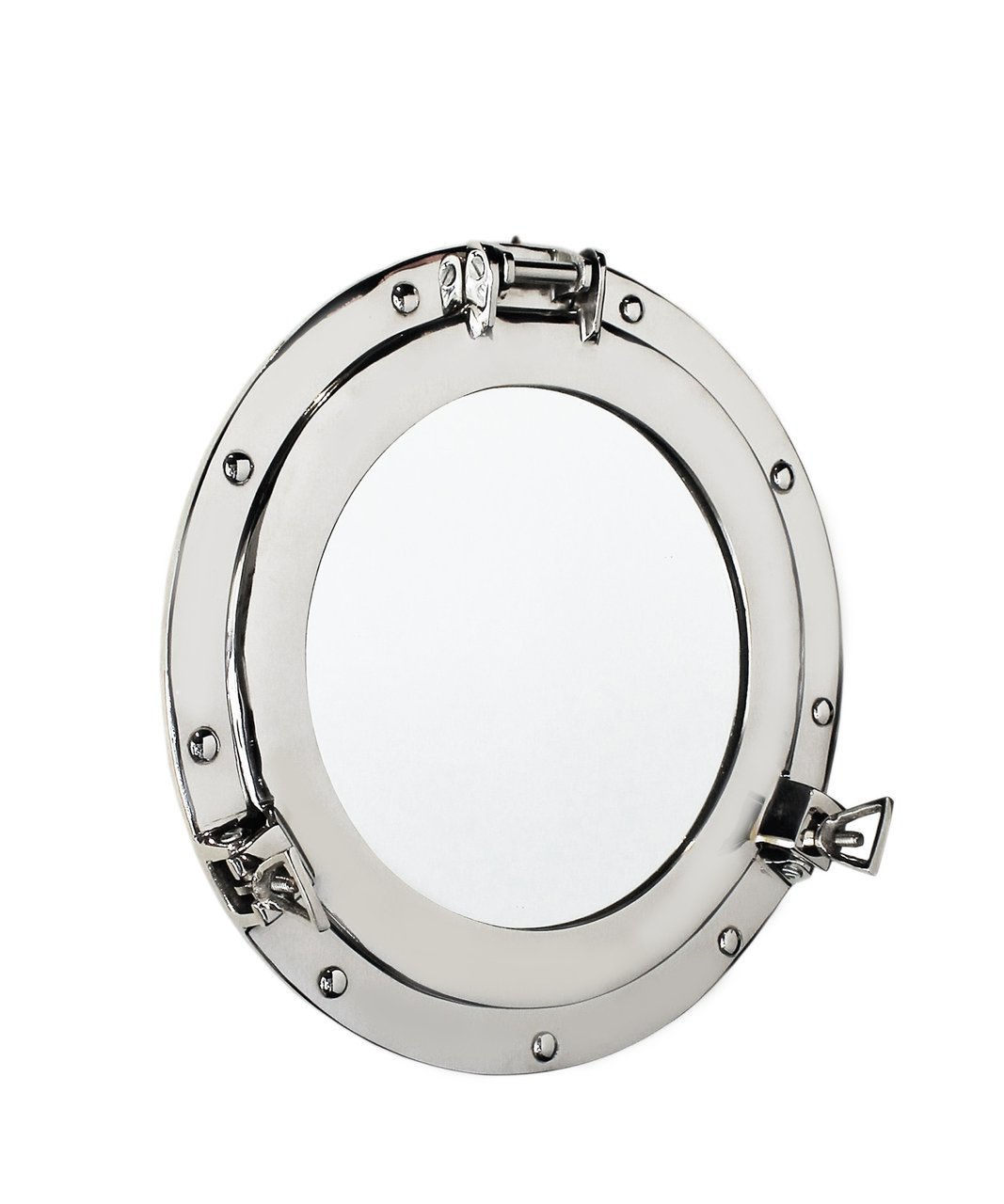 Nagina International 12 Nautical Nickel Plated Premium Ship's Porthole Mirror | Maritime Wall Decor Plane Mirror