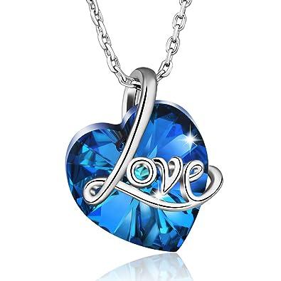 Colliers pour Femme Fabriqué à Partir de Cristaux Swarovski, Motif en Forme  de cœur Bleu 001b8156352f