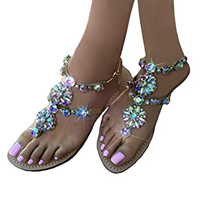 80705046c37831 MayBest Women s Summer Rhinestone Bead Bohemia Folk Round Clip Toe Sandals  Boho Beach Flip Flops Flat