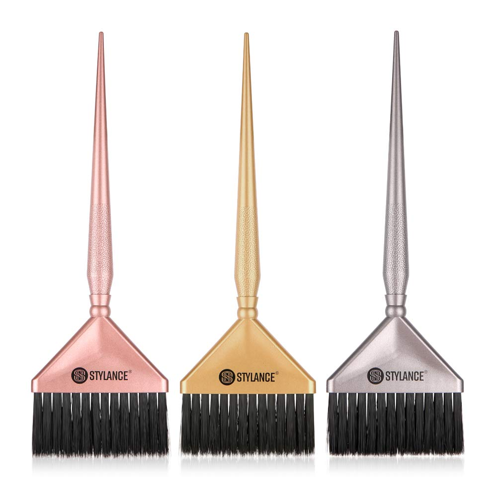 3 Pieces Barber Hair Dye Brushes Kit, Hair Color Dye Brush Tool Set, Professional Suitable for Beauty Salon & Home DIY Coloring Brush (Silver+Rose gold+Gold) : Beauty