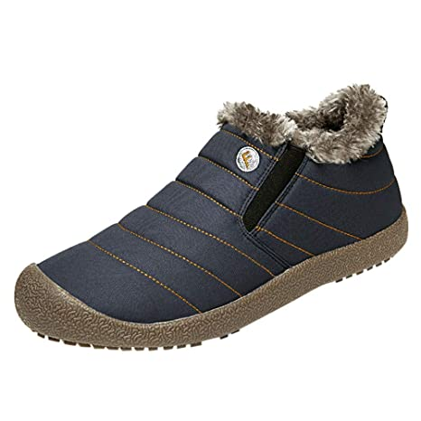 Amazon.com: Binmer Mens Non-Slip Plus Velvet Warm Cotton Shoes Snow Boots Booties Plush Shoes: Clothing