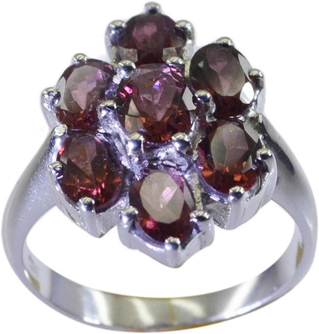 CaratYogi Natural Garnet Sterling Silver Statement Ring Oval Shape Cluster Style Size 5 6 7 8 9 10 11 12