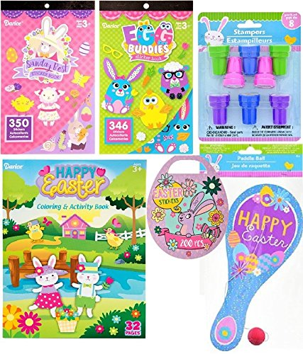 Happy Easter Basket Stuffers Bundle Coloring Activity Book, Mini Egg-Shaped 200 Stickers Book, Sunday Best 350 Stickers Book, Egg Buddies 346 Stickers, Easter Stampers, Blue Paddle Ball Game 6 - Item ()