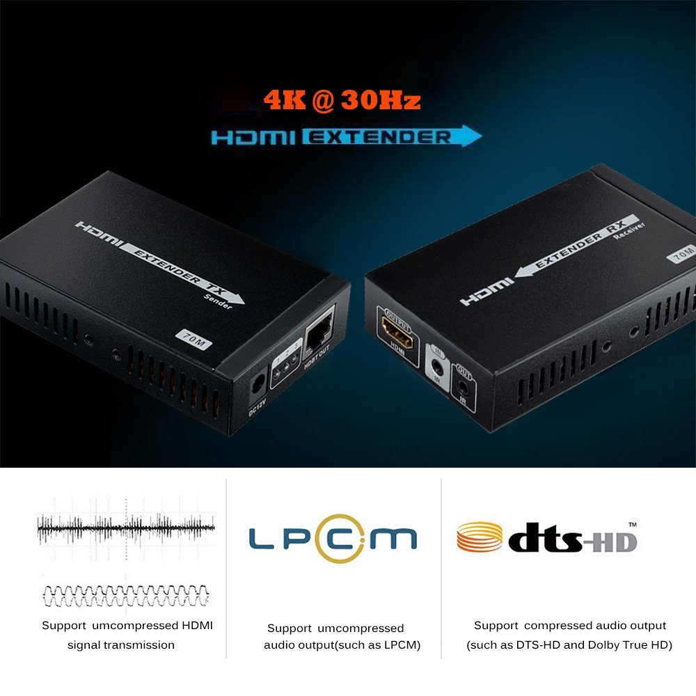 4K HDMI Extender 230ft/70m Supports, 3D,1080P, 4K Over Single CAT/6/6A/7 Cable with Bi-Directional IR Remote, POE Transmission by MYPIN (Image #4)