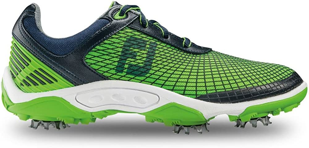 FootJoy Junior Hyperflex Spiked Golf Shoes, Navy Electric Green 45098 Previous Season Style