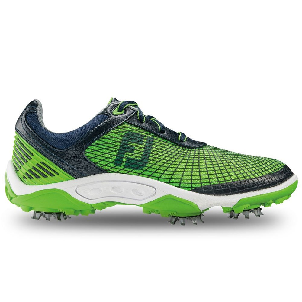 FootJoy Junior's Hyperflex Spiked Golf Shoes, Close-out, Navy/Electric Green 45098 (4 Big Kid M)