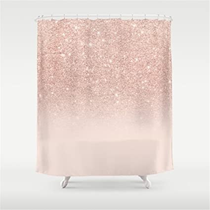 Rose Gold Faux Glitter Pink Ombre Color Block Shower Curtain 60quot