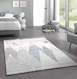 in Cream Grau Indianer-Zelt Motiv 3-D Kinderzimmer Pastell Farben Paco Home Kinder-Teppich Gr/össe:80x150 cm