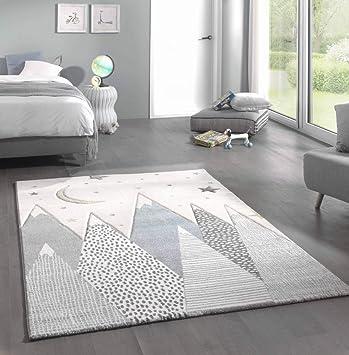 Kinderteppich Teppich Kinderzimmer mit Bergen in Pastel Blau Grau Größe  80x150 cm