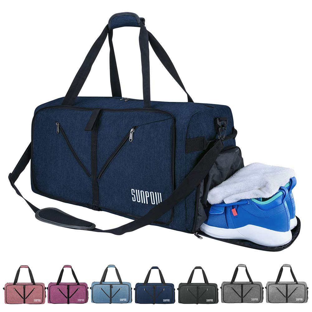 SUNPOW 65L Travel Duffle Bag, Foldable Sport Gym Bag with Shoe Compartment,  Weekender Bag 3f007f46b4
