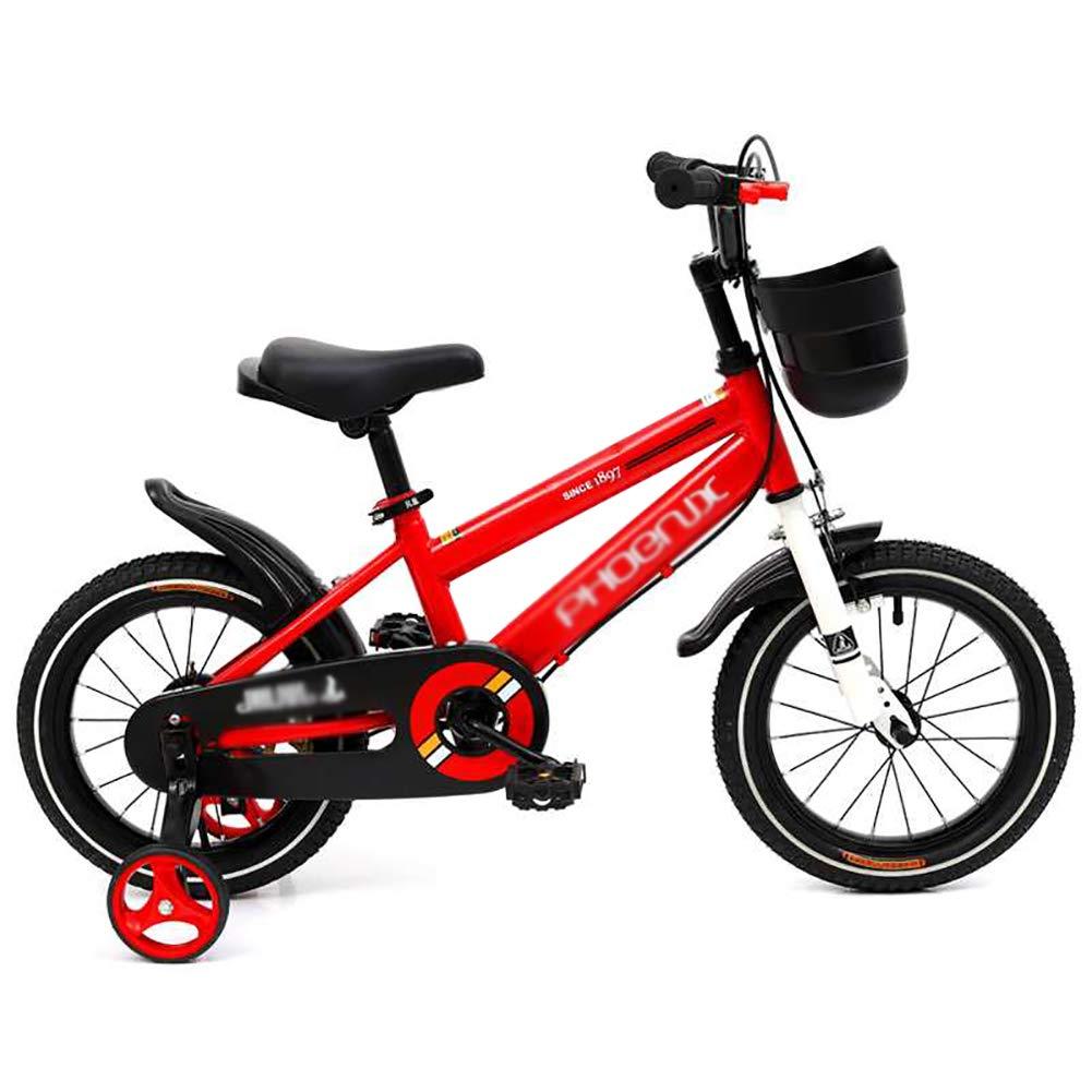 rojo BAICHEN Bici de los niños,Bicicleta de niños 3 Colors,en tamaño 12 , 14 , 16 18  con estabilizadores,rojo,14in 12in
